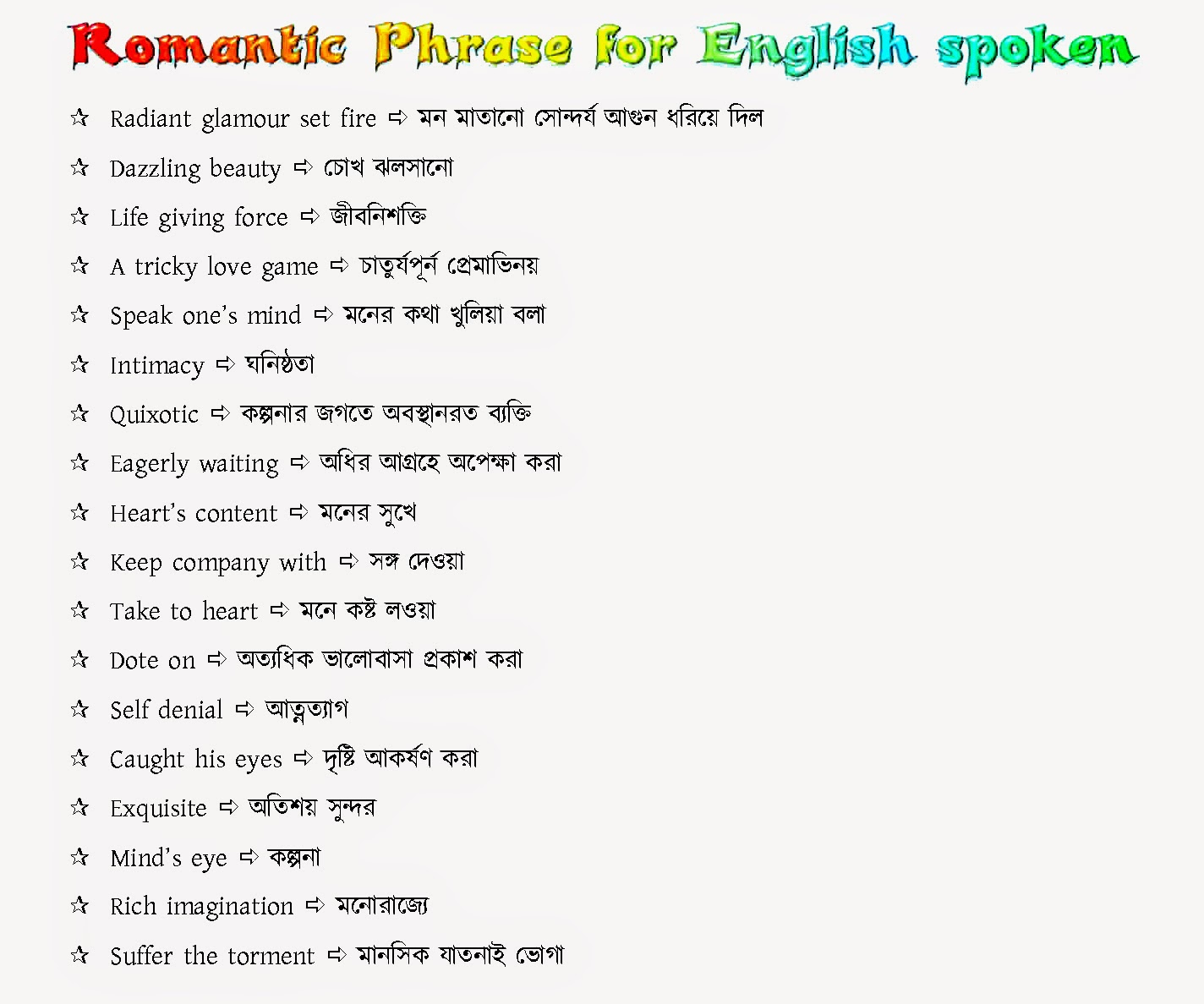 Basic English Spoken Course With Bangle Romantic Sentence