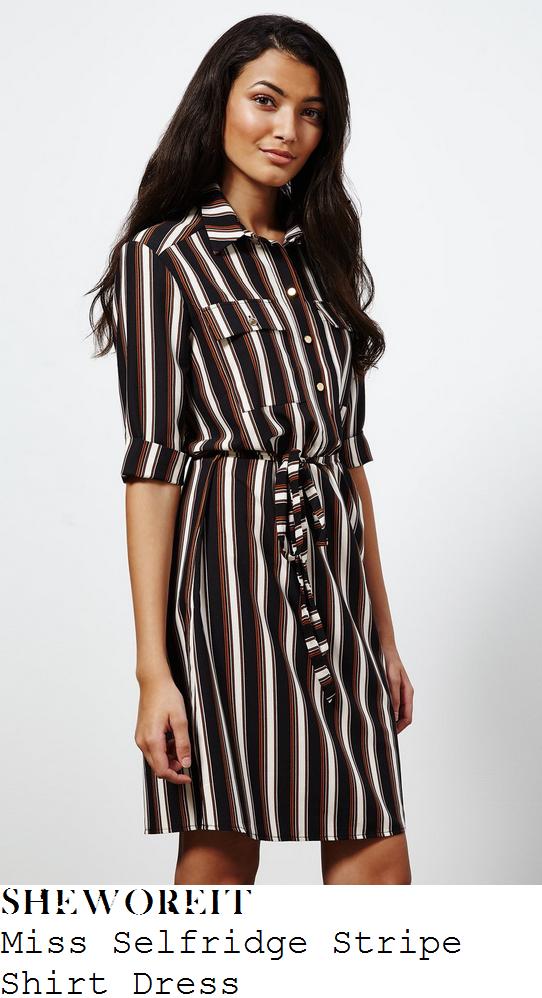 megan-mckenna-black-tan-brown-white-stripe-print-half-sleeve-button-up-shirt-dress-lockies-kitchen