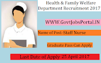 Health & Family Welfare Department Recruitment 2017–  Senior Medical Officer, Staff Nurse