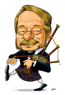 caricature, caricaturist, gift, cadeau, employee, employe, scotch, bagpipe, retirement