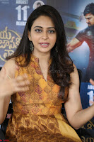 Rakul Preet Singh smiling Beautyin Brown Deep neck Sleeveless Gown at her interview 2.8.17 ~  Exclusive Celebrities Galleries 054.JPG