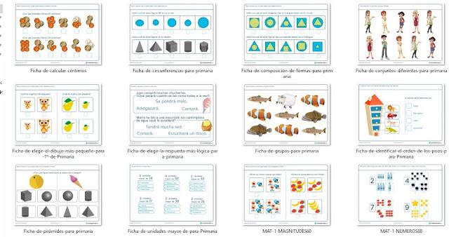 Fichas de ejercicios de matemática para primero de primaria