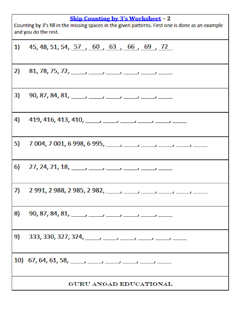Practice 3rd grade math level of skip counting by 3's by printing this free worksheet.