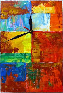 rosu, galben, albastru, ceas, ceas de perete, handmade, pictat, abstract