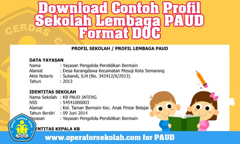 Download Contoh Profil Sekolah Lembaga PAUD Format DOC