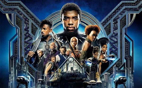 image of part of the movie poster for the film Black Panther, showing a number of cast members
