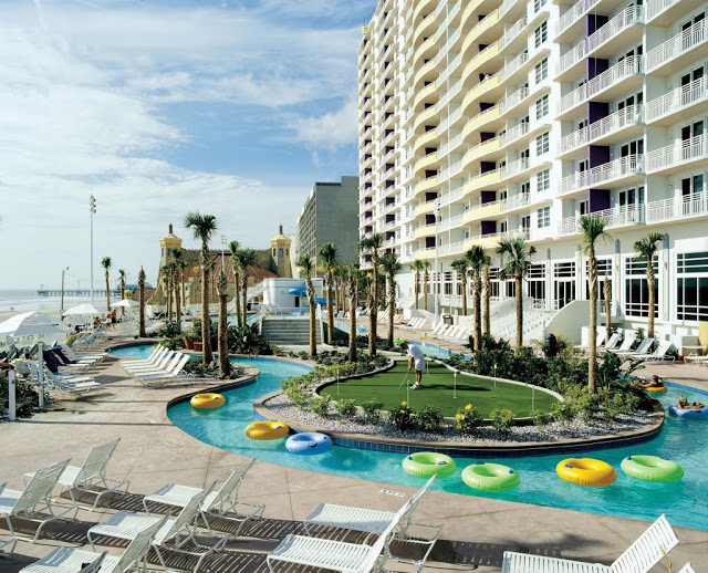 Book online the Wyndham Ocean Walk Daytona Beach and experience spacious suites with kitchens, beachfront pools, bars, fitness center, and beach access at this beautiful Daytona Beach resort.