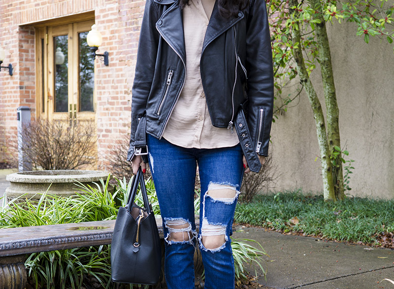 distressed zara jeans and forever 21 satin top
