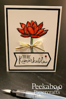 "Card stamped with floral watercolour image and the sentiment ""You Are Remarkable"""