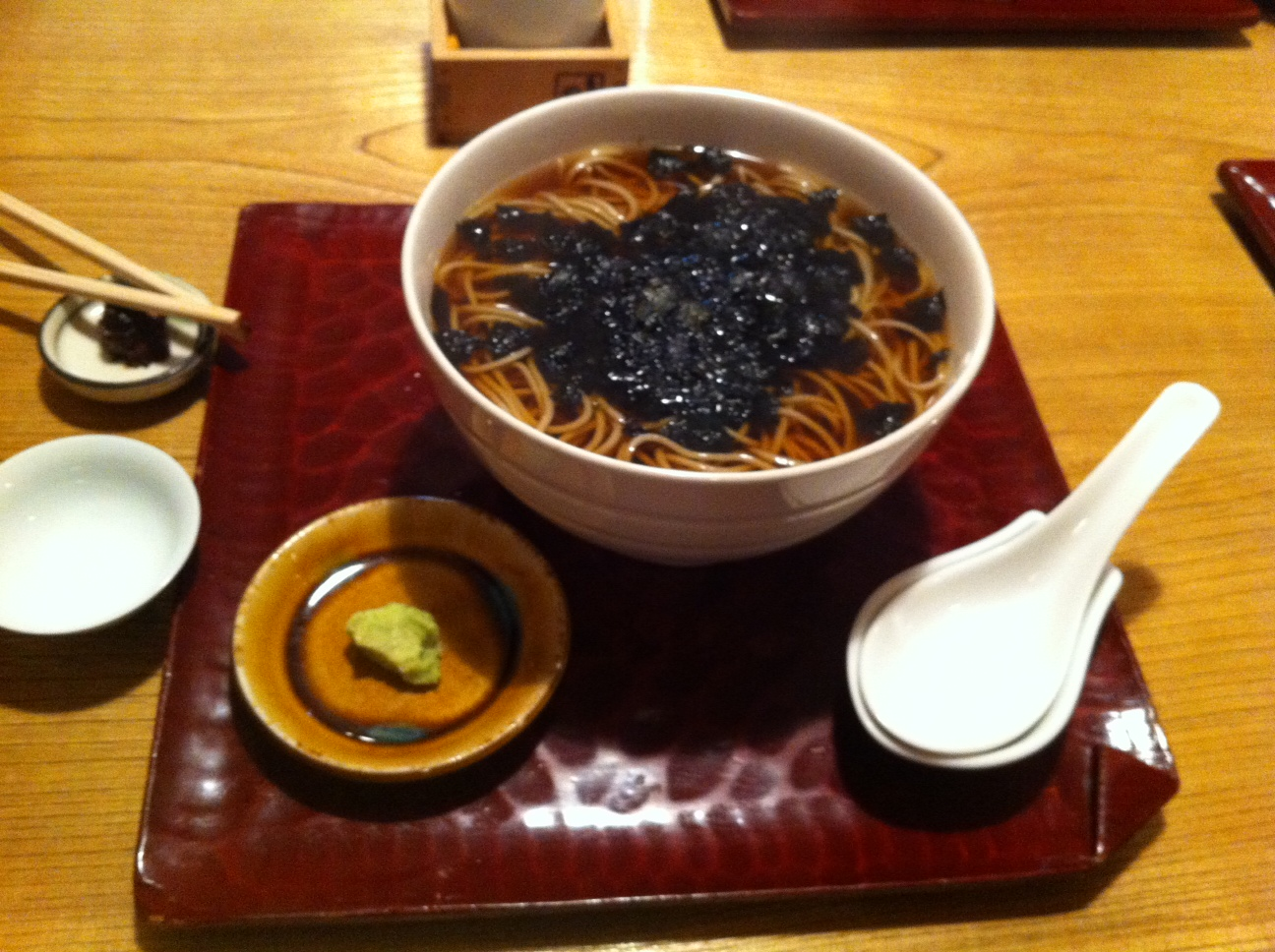 Seaweed topped soba in Namiki Yabu Soba restaurant, Asakusa, Tokyo.