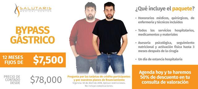 Paquete de Cirugia Bypas Gastrico Obesidad Sobrepeso Precio Guadalajara Mexico