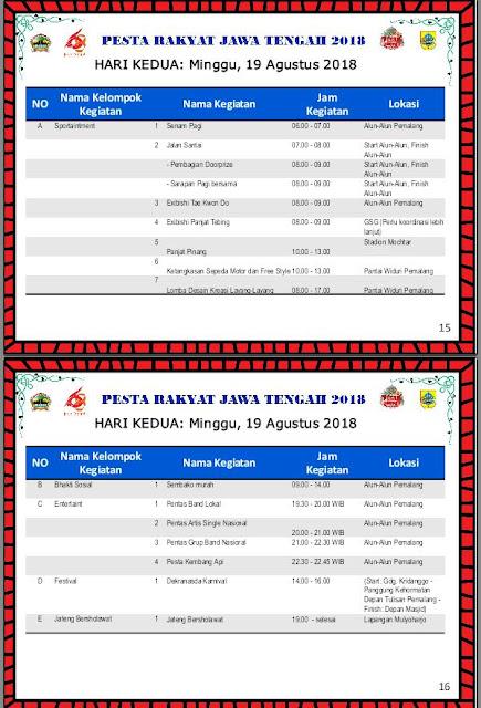Jadwal Kegiatan Pesta Rakyat Jateng 2018 Pemalang