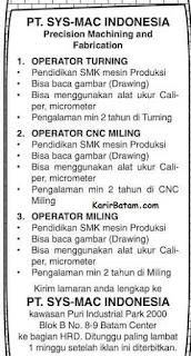 Lowongan Kerja PT. SYS Mac Indonesia