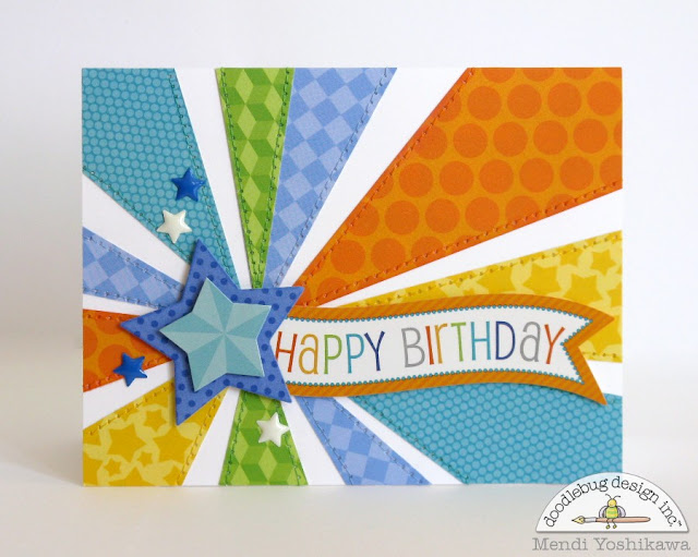 Doodlebug Design Inc. Masculine Star Burst Birthday Card by Mendi Yoshikawa