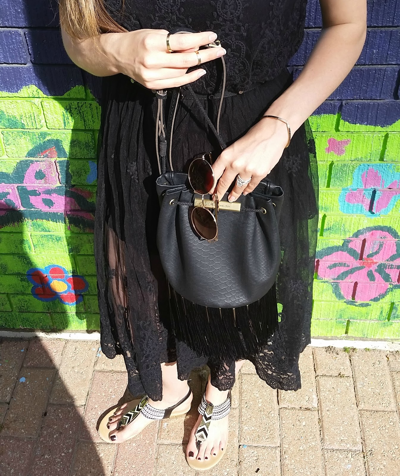 H&M Black Lace Dress, Rachel Roy Fringe Bag