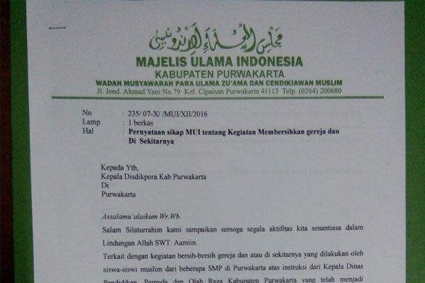 Bupati Purwakarta Libatkan Pelajar Muslim Bersihkan Gereja, Begini Sikap Tegas MUI Purwakarta