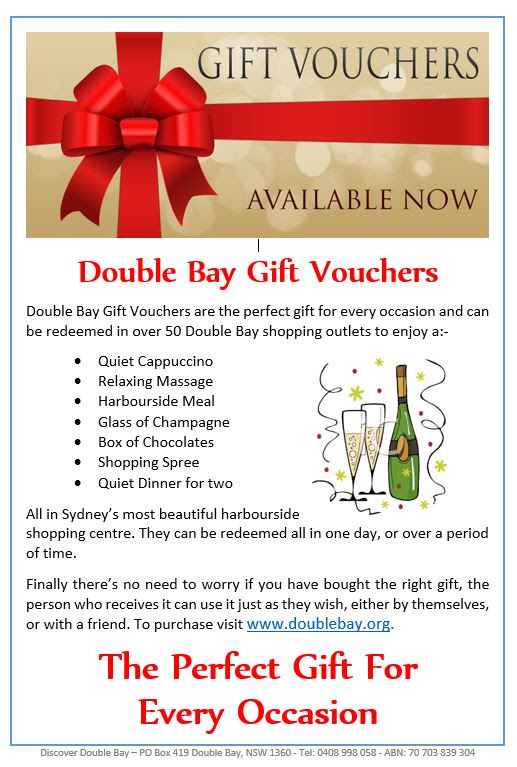 DOUBLE BAY GIFT VOUCHERS NOW AVAILABLE
