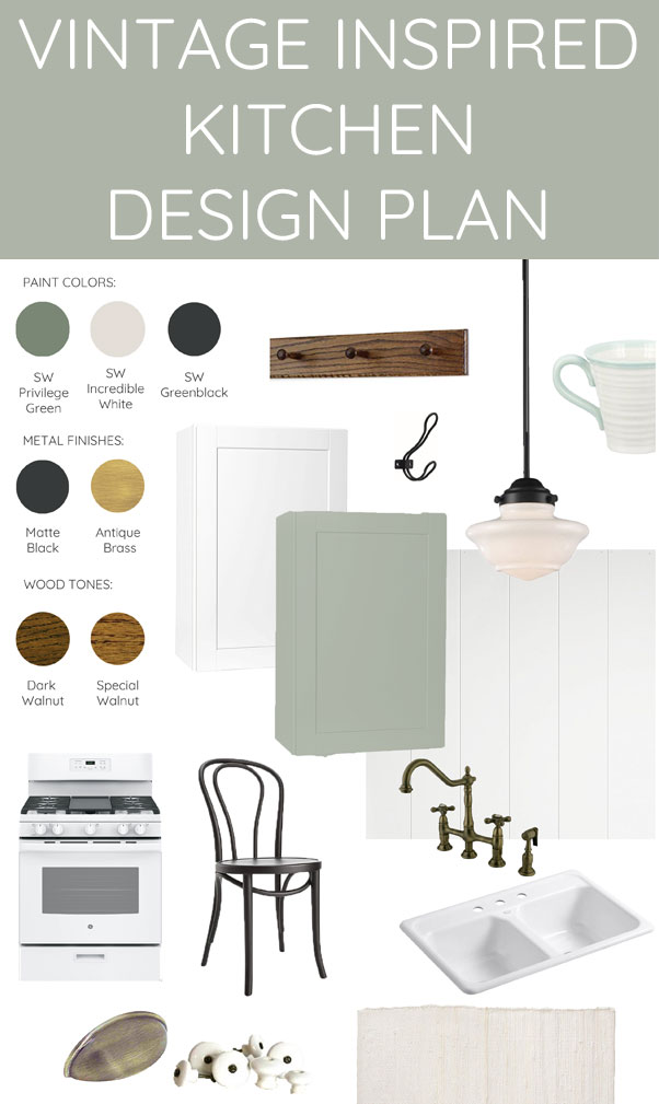 A builder grade 1990s kitchen is getting a 1920s makeover! Mood board and design plan for a vintage inspired farmhouse style update. Lots of great ideas and inspiration!