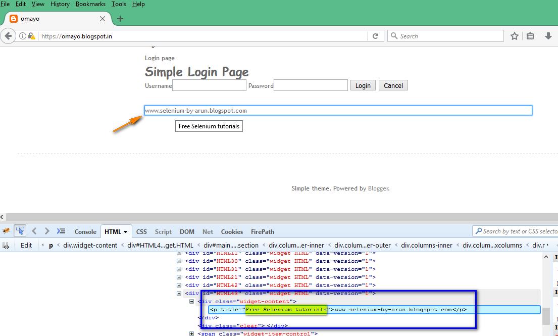 Selenium-By-Arun: Reading Tool Tip text using getAttribute() method