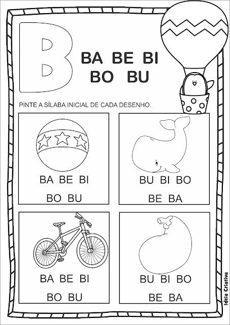 Atividade Família Silábica B em duas opções para impressão