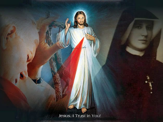 Divine Mercy image that includes St. Pope John Paul II and Sister Faustina