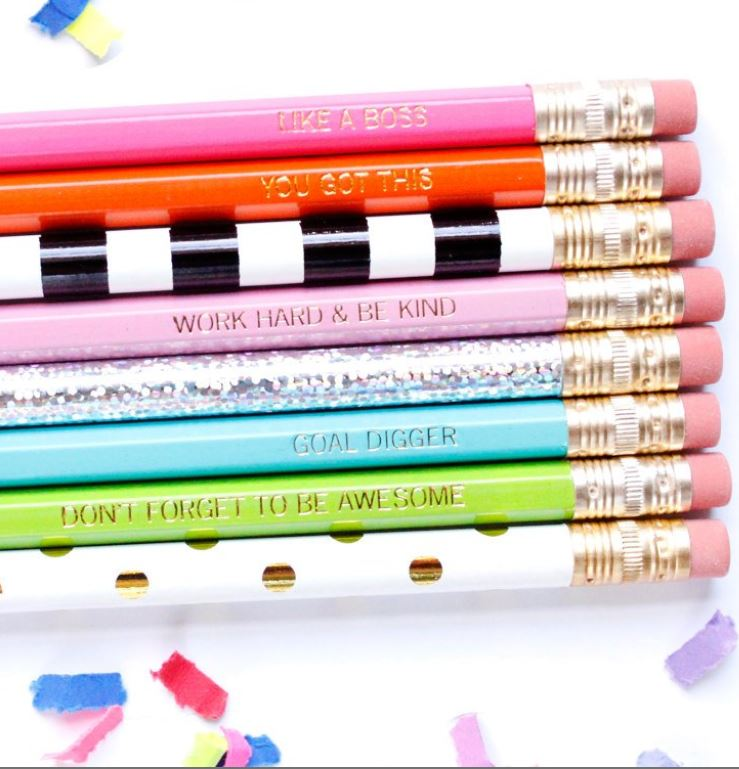 Pencils with encouraging motivational phrases on them