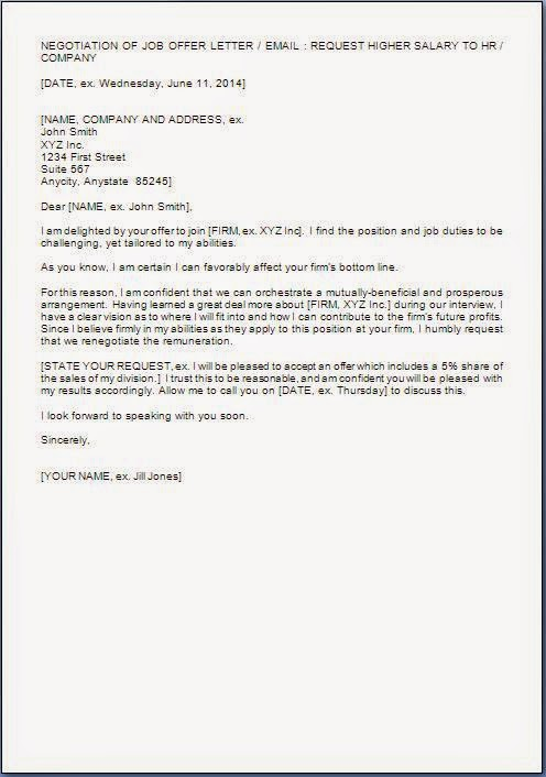 Salary negotiation letter format for Salary negotiation email template