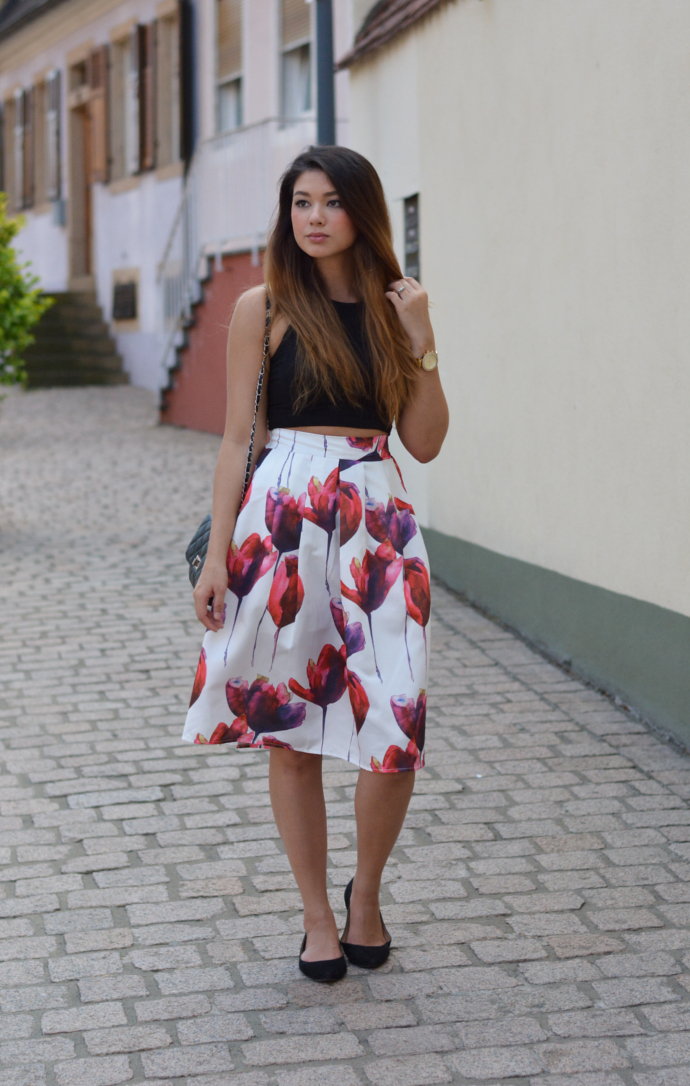 Oasap, Floral Midi Skirt, Poppy Floral Print Pleated Swing Skirt, H&M Crop Top, Crop Top, Bag, MakeMeChic Pointy Flats, Speyer, Dom, Speyerer Dom, Summer outfits