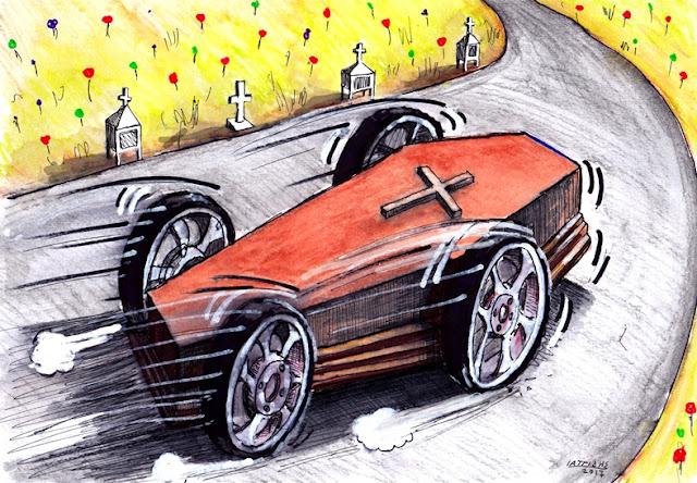 IaTriDis Γελοιογραφία για την εφημερίδα Άποψη του Νότου, Κρήτη, με θέμα τα θανατηφόρα τροχαία ατυχήματα στην Κρήτη.
