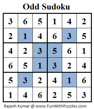 Odd Sudoku (Mini Sudoku Series #18) Solution