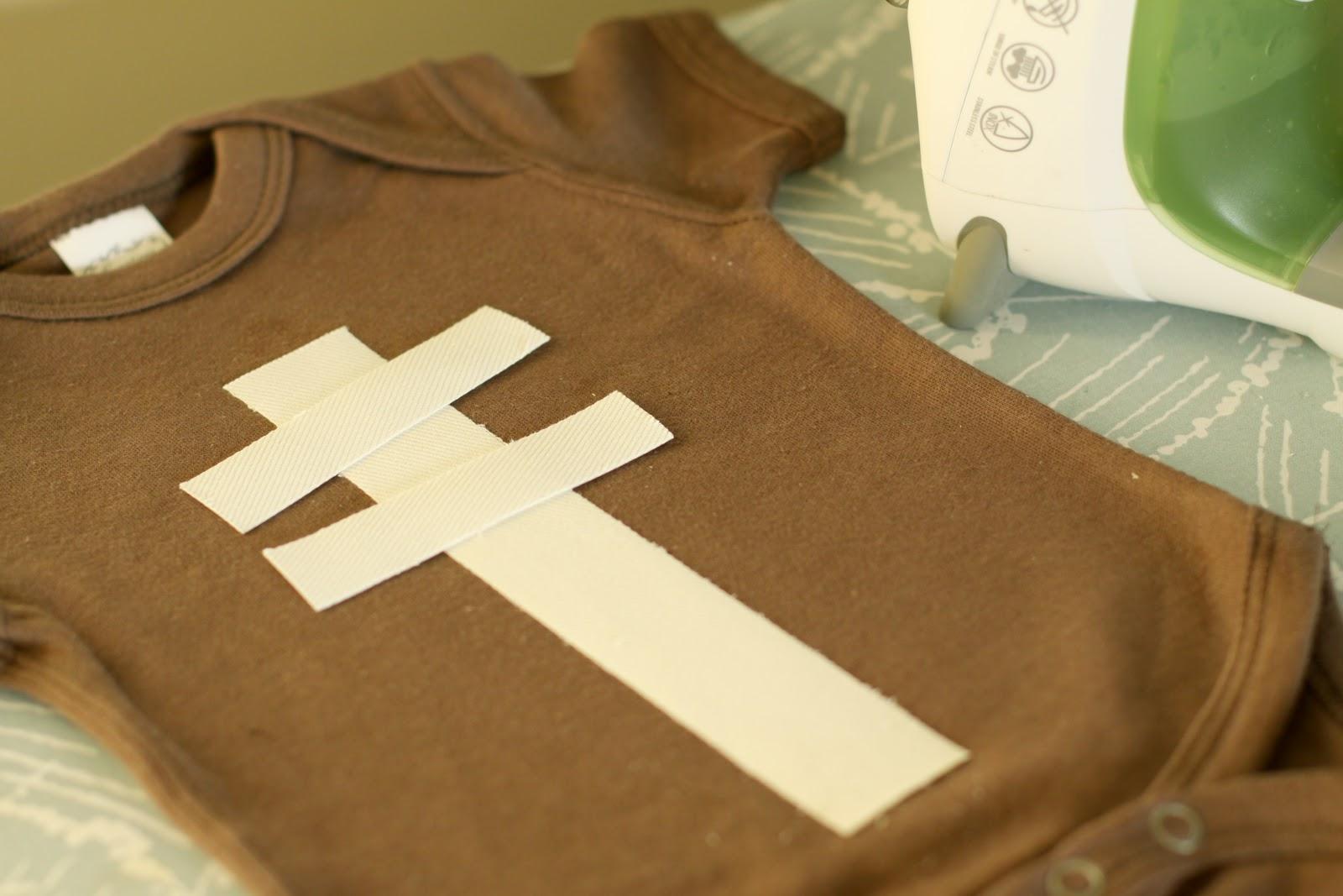 2. Cut strips and arrange on onesie. a933662dd