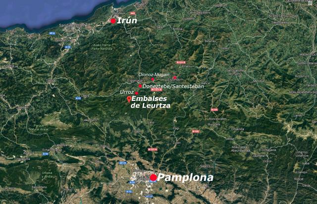 Situación de los embalses de Leurtza, Navarra