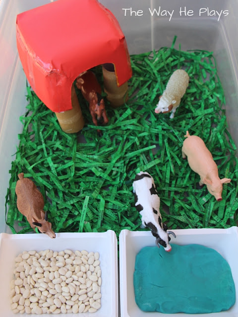 Bird's eye view of a farm play set up