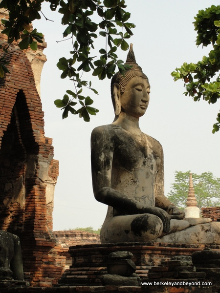 Buddha statue at Wat Phra Mahathat at Ayutthaya Historical Park in Thailand