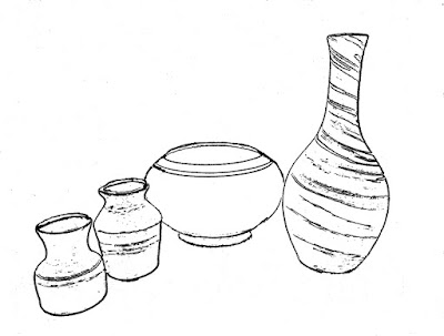 Tracing of still life composition photo
