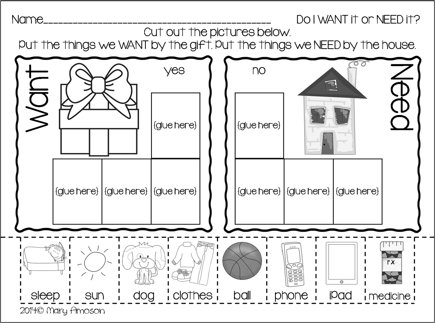 Sharing Kindergarten Wants And Needs With A Freebie