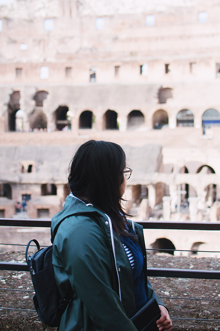 roman colosseum tourist, inside colosseum, looking into colosseum