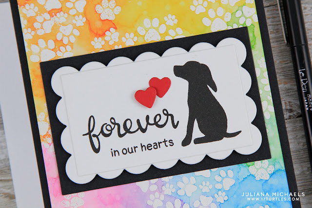 I love how this card came together and I love that I was able to capture the comforting thought that the Rainbow Bridge brings to many people when they loose a beloved pet.