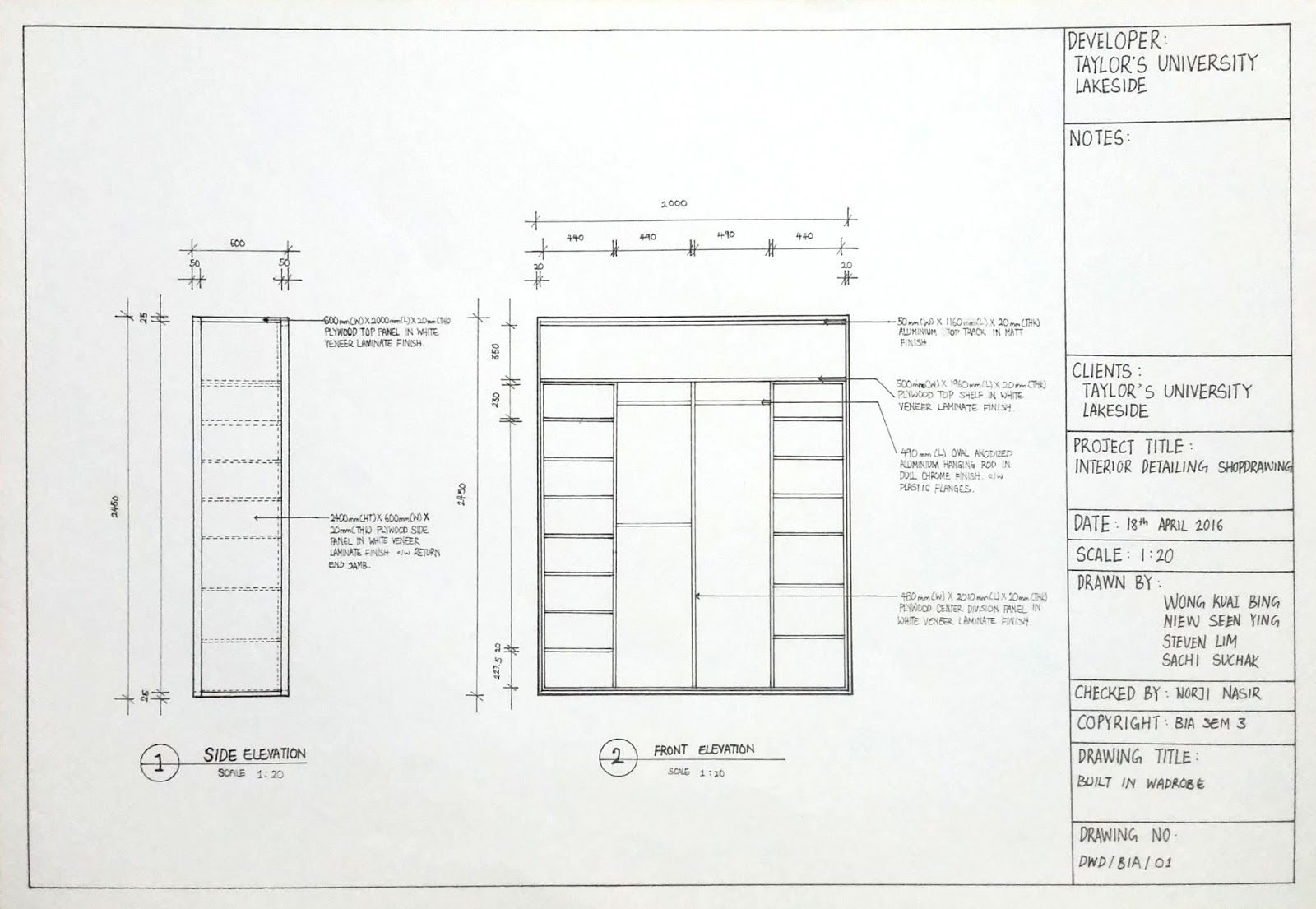 Wardrobe Plan Elevation Section : Footsteps of a future designer detailing and working