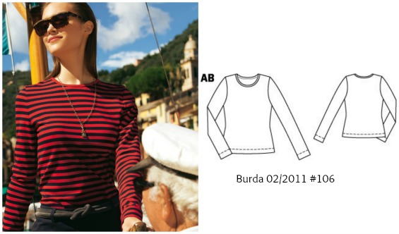 Burda 2/2011 #106 top www.loweryourpresserfoot.blogspot.com