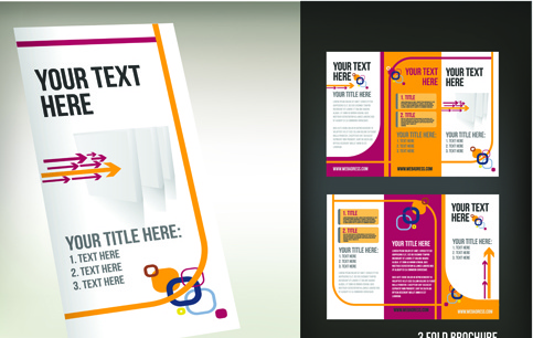 Set of tri fold business brochure cover vector Free vector