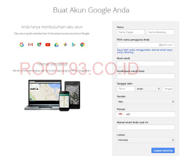 form registrasi untuk membuat akun google