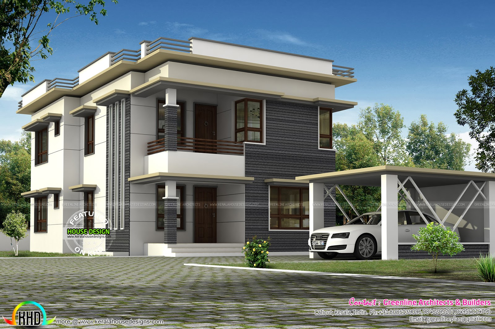 Separate Car Porch Flat Roof Home Kerala Design And