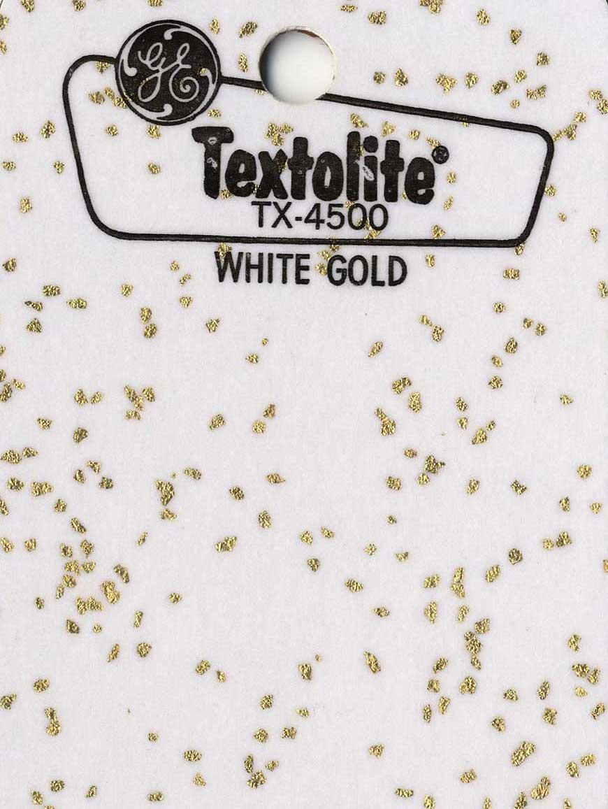 1960 G.E. Textolite White Gold home countertop laminate, a color photograph