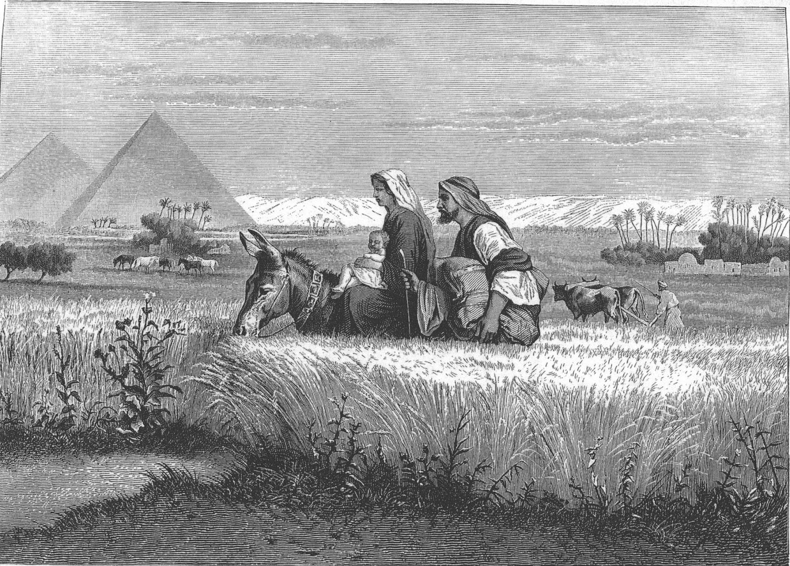Ilustração de José e Maria indo para o Egito