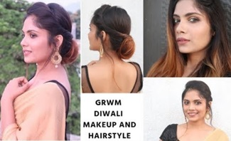 Diwali special Makeup + Hairstyle For Medium to Long Hair/ Indian Festive hairstyle