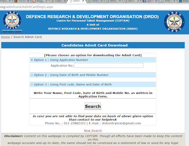 DRDO+CEPTAM+08+Admit+Card+Download