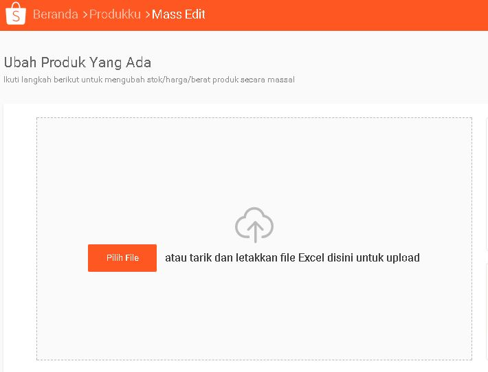 Cara update stock massal di Shopee