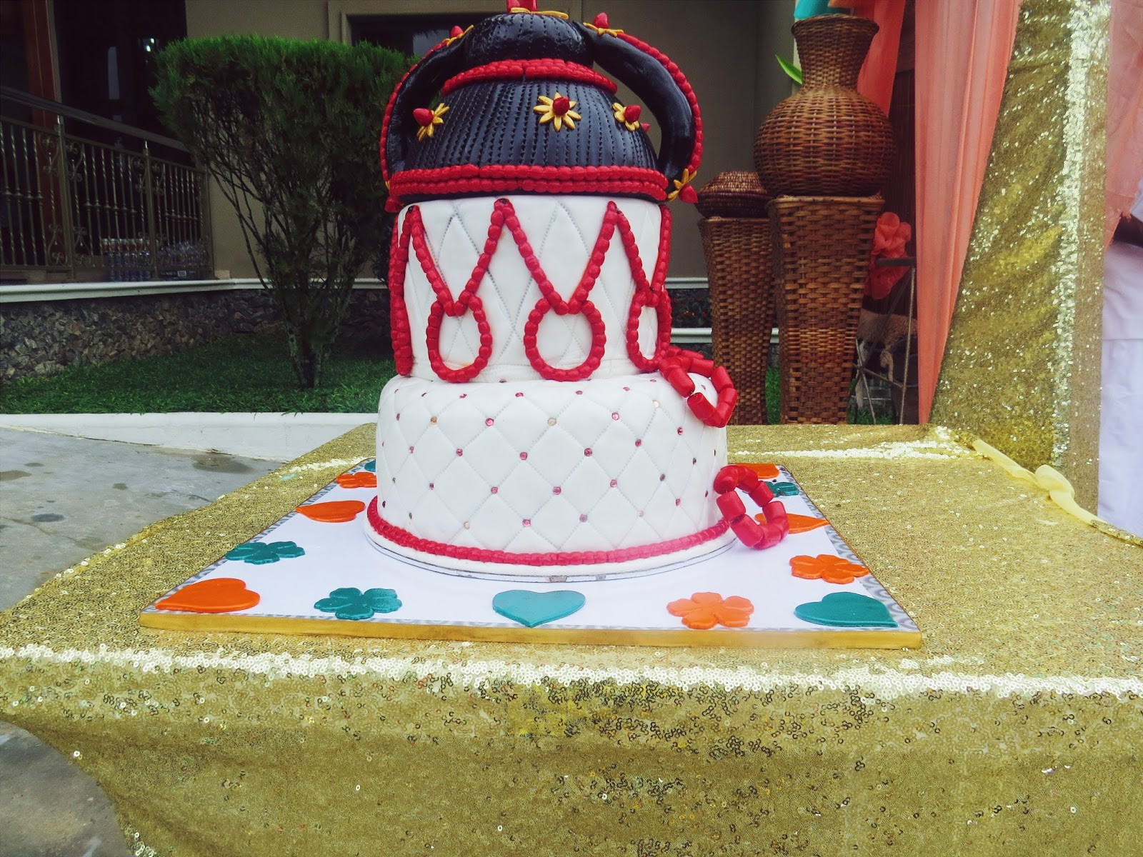 Cake design for Bini traditional wedding ceremony