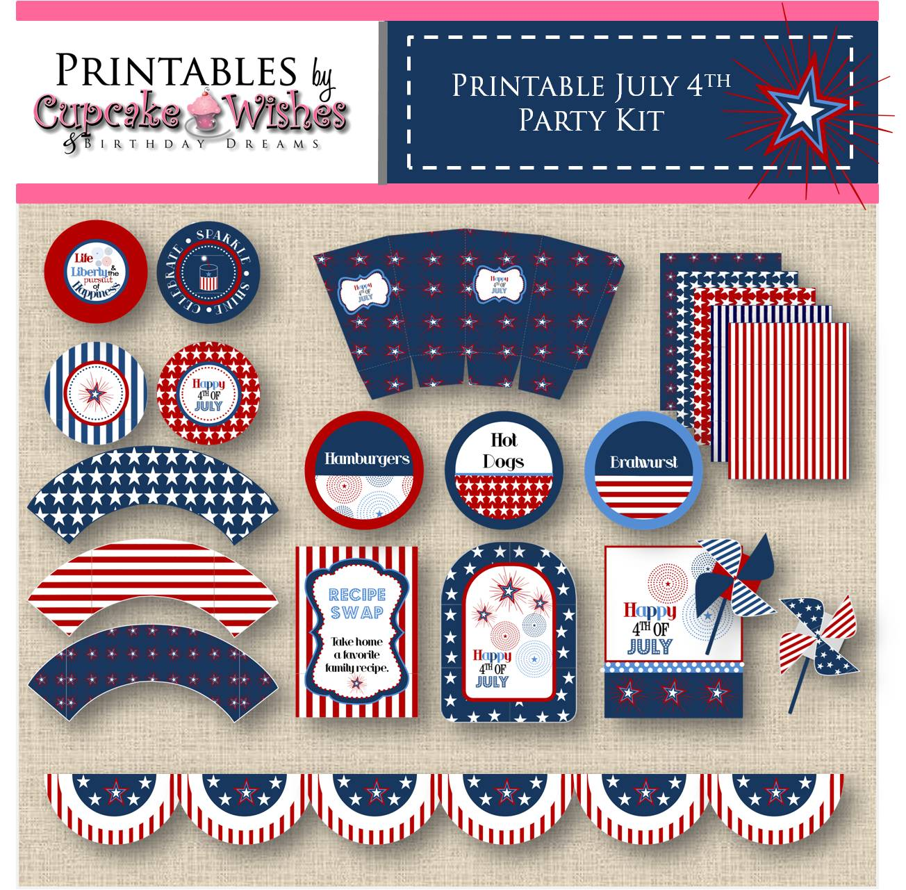Cupcake Wishes Amp Birthday Dreams Festive July 4th Printables